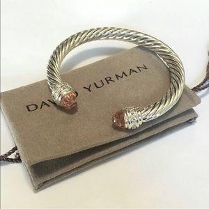 David Yurman Morganite Diamond Bangle 7mm Cable